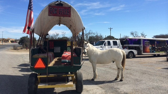 Horse & wagon at Sunday Funday, Bandera, TX.