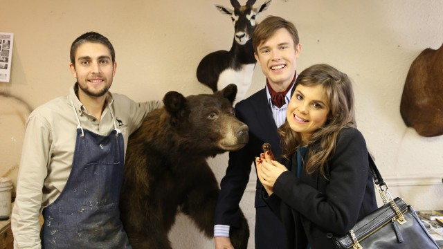 Georgie & Poppy in the Safari Life Taxidermy studio with owner Brendon Wood.