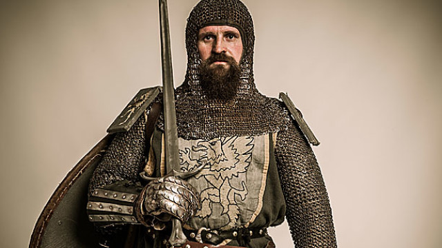 A medieval knight in his armour, sorry, armor.