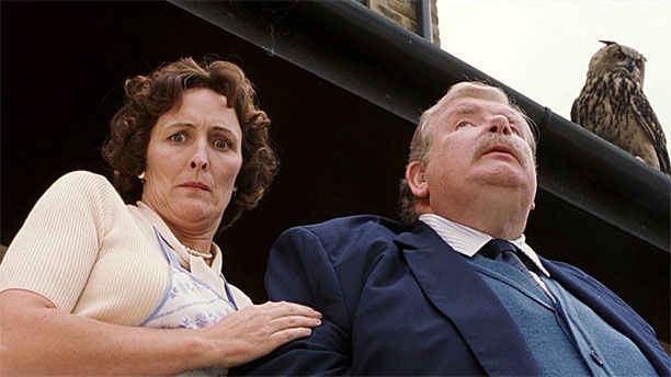 Fiona Shaw as Aunt Petunia Dursley, and Richard Griffiths as Uncle Vernon in 'Harry Potter and the Sorcerer's Stone' (Pic: Warner Bros.)