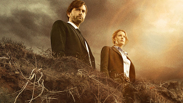 David Tennant and Anna Gunn in 'Gracepoint' (Pic: Fox)