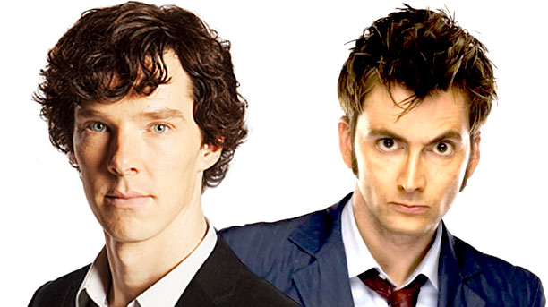 Benedict Cumberbatch (as Sherlock) and David Tennant (as the Tenth Doctor) (Pics: BBC)