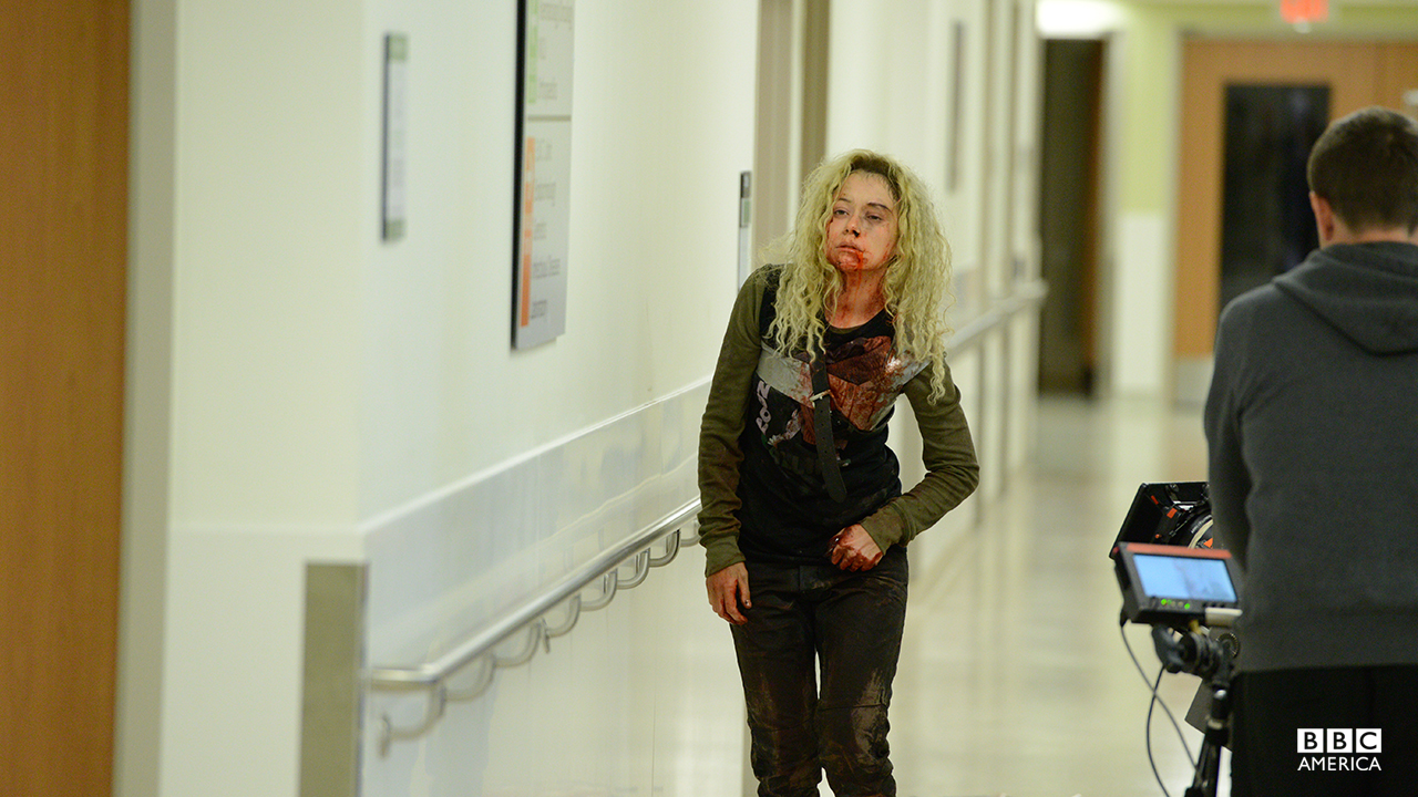 Tatiana Maslany and crew filming Helena's horrific return in episode 201.