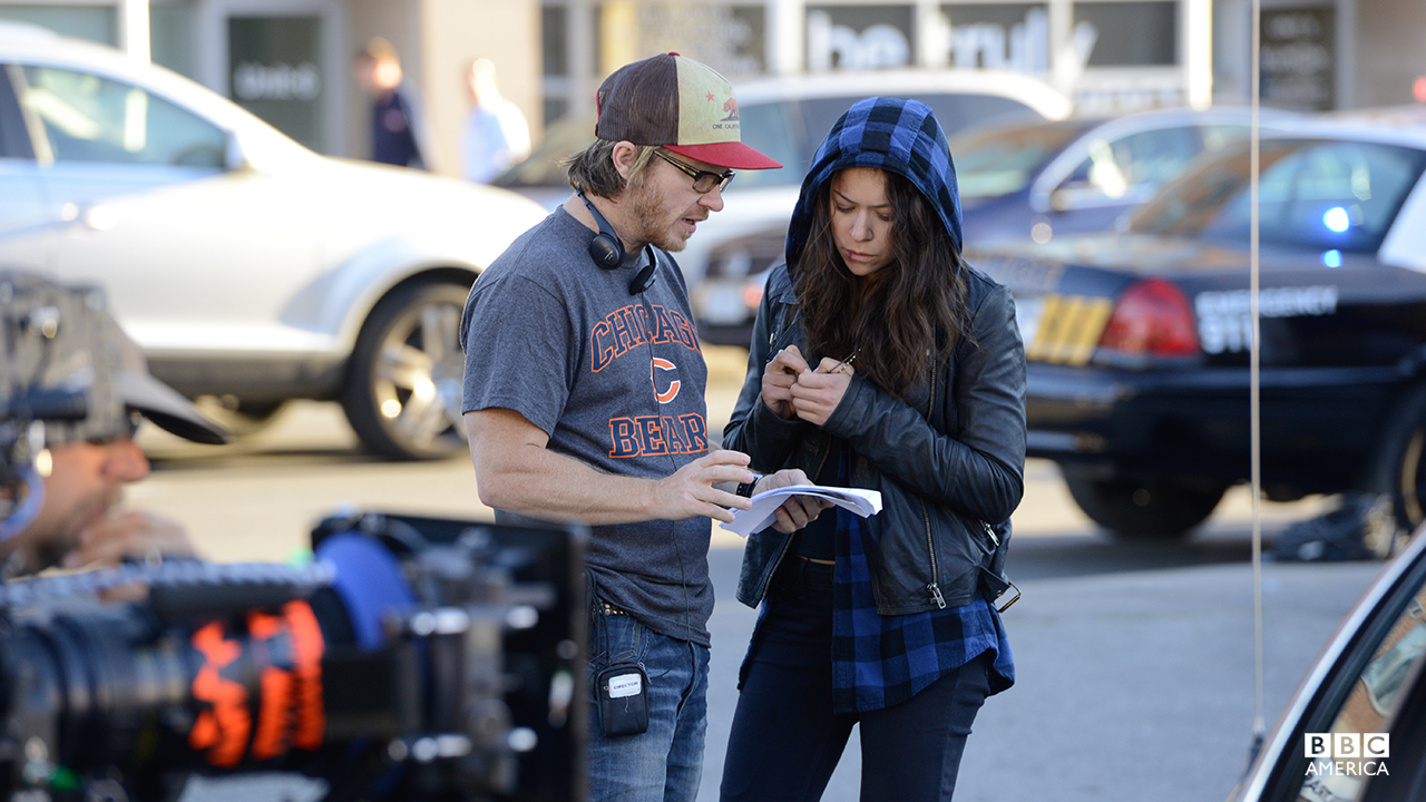 Co-creator and Director John Fawcett trades notes with Tatiana Maslany on the set of episode 201.