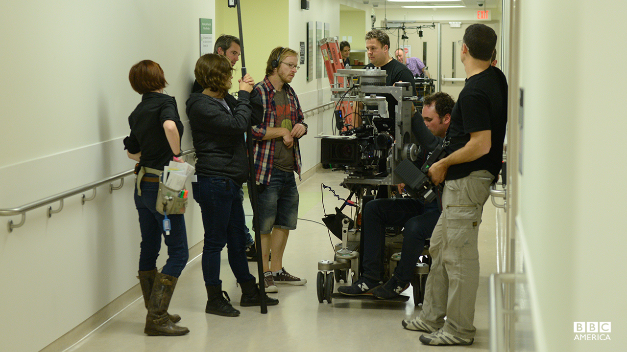 Behind-the-scenes of Helena's hospital scene in episode 201.