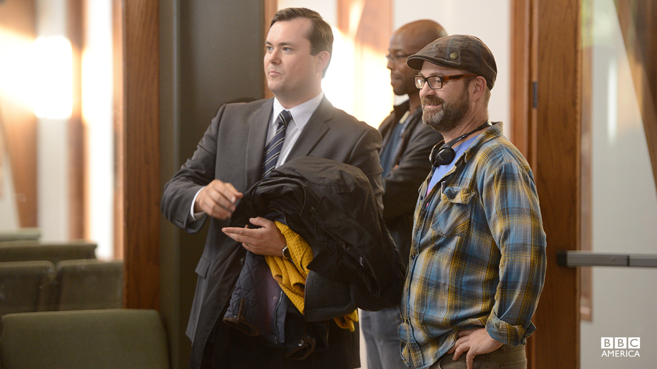 Co-creator Graeme Manson behind-the-scenes of episode 202 with actor Kristian Bruun,