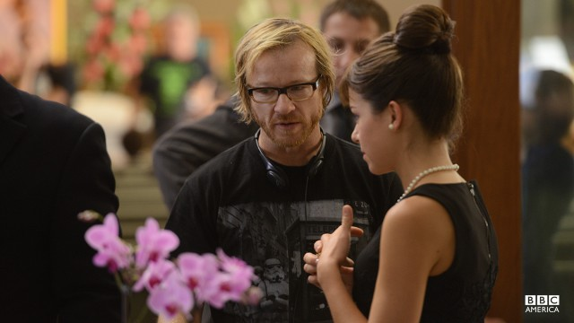 Co-creator John Fawcett behind-the-scenes of Anysley's funeral with Tatiana Maslany as Alison Hendrix (channeling Audrey Hepburn) in episode 202.