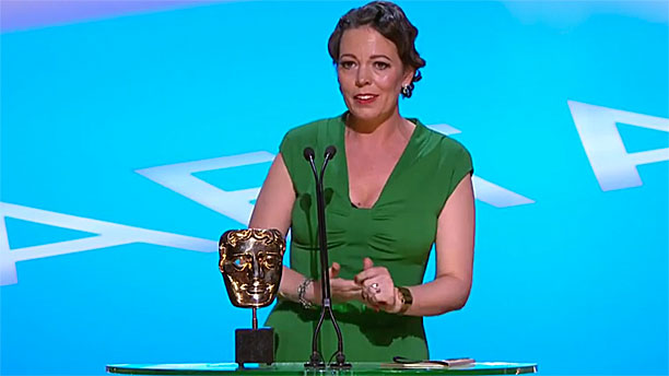 Olivia Colman during her emotional BAFTA speech (Pic: BBC)