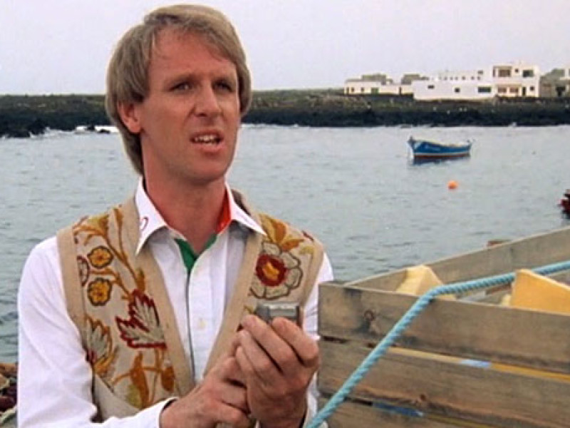 The Fifth Doctor in Lanzarote for 'Planet of Fire' (Pic: BBC)