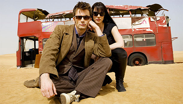"David Tennant, Michelle Ryan and a knackered red double-decker in 'Doctor Who's ""Planet of the Dead"""