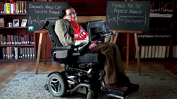Stephen Hawking and his soccer math (Pic: Paddy Power)