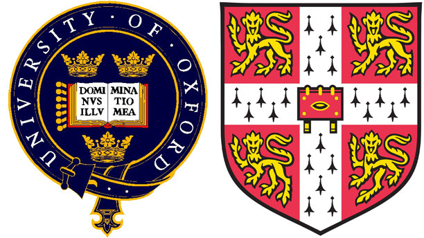 Oxford and Cambridge University logos.