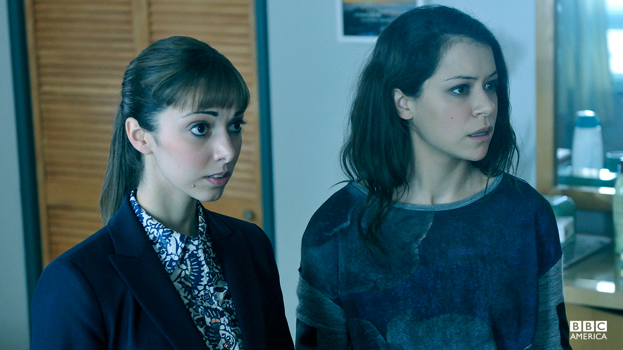 Tatiana as Sarah Manning and Kathryn Alexandre as Alison Hendrix for Family Day at rehab in episode 207.