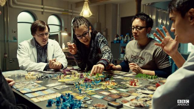 """Pillage!"" Geek Monkey Cosima dominates Runewars against Scott and his fellow scientist ""battle bitches."""
