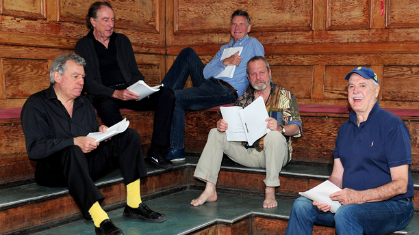 Monty Python rehearsals - London. Terry Jones, Eric Idle, Michael Palin, Terry Gilliam and John Cleese are seen on the first day of rehearsals in London, for their new show Monty Python Live (mostly) which is on at the O2 Arena in London on July 1-5, 15, 16, 18-20. Picture date: Monday June 16, 2014. Photo credit should read: Ian West/PA Wire URN:20122728