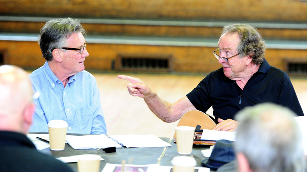 Monty Python rehearsals - London. Michael Palin and Eric Idle are seen on the first day of rehearsals in London, for their new show Monty Python Live (mostly) which is on at the O2 Arena in London on July 1-5, 15, 16, 18-20. Picture date: Monday June 16, 2014. Photo credit should read: Ian West/PA Wire URN:20122714