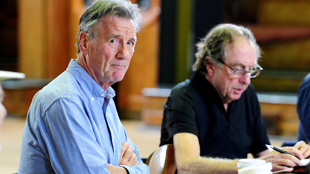 Monty Python rehearsals - London. Michael Palin and Eric Idle are seen on the first day of rehearsals in London, for their new show Monty Python Live (mostly) which is on at the O2 Arena in London on July 1-5, 15, 16, 18-20. Picture date: Monday June 16, 2014. Photo credit should read: Ian West/PA Wire URN:20122734