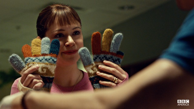 Alison's knit gloves for Vic's lobstered hands.