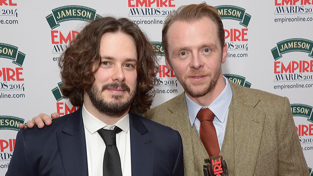 Director Edgar Wright and actor Simon Pegg winners of the best british film award pose for photographers in the press room during the Empire Awards 2014 at the Grosvenor Hotel, London, Sunday March 30, 2014. (Photo by Jon Furniss/Invision/AP)