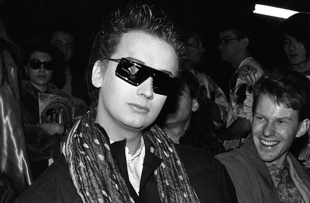 Singer of the British pop group Culture Club, Boy George at the presentation of the Fall-Winter ready-to-wear collection of Japanese designer Issey Miyake in Paris, France, on Saturday, March 23, 1985. (AP Photo/Alexis Duclos)