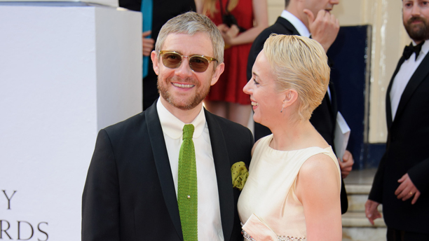 Martin Freeman and Amanda Abbington arrive for the British Academy Television Awards at a central London venue, Sunday, May 18, 2014. (Photo by Jonathan Short/Invision/AP)