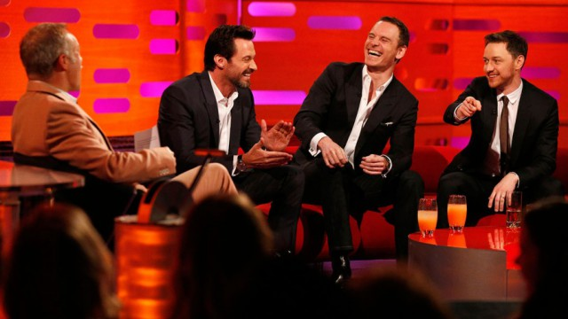 Season 15 Episode 5  Hugh Jackman - pink grapefruit and vodka Michael Fassbender - pink grapefruit and vodka James McAvoy - lager