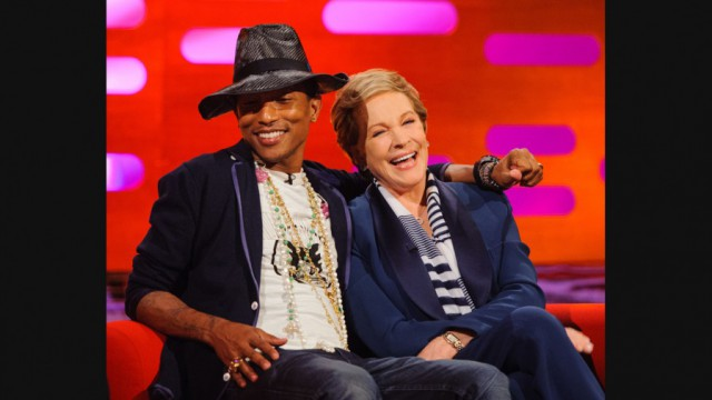 Season 15 Episode 8 Dame Julie Andrews - tea with milk Pharrell Williams - water Channing Tatum - water Jonah Hill - water