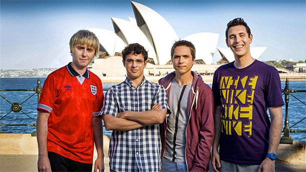James Buckley, Simon Bird, Joe Thomas and Blake Harrison prove they are in Australia in 'The Inbetweeners 2' (Pic: EFD)