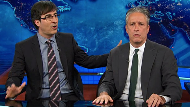 John Oliver and John Stewart (Pic: Comedy Central)