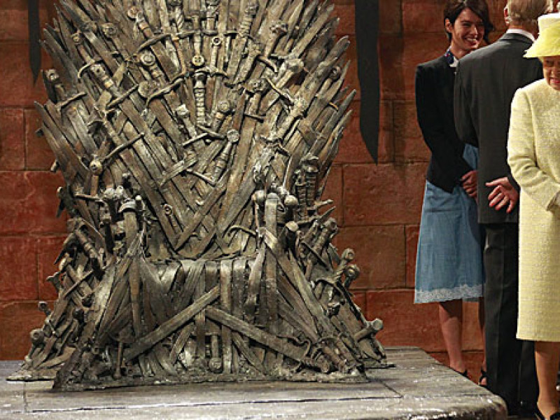 The Queen on the 'Game of Thrones' set
