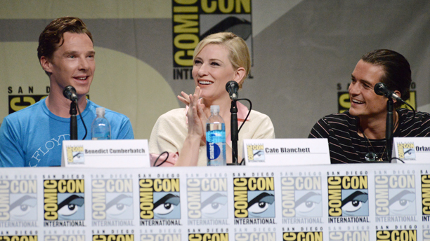 Benedict Cumberbatch, Cate Blanchett, and Orlando Bloom at the San Diego Comic-Con panel for 'The Hobbit: The Battle of the Five Armies.' (Photo by Richard Shotwell/Invision/AP)