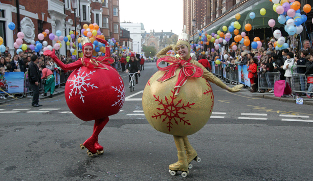 Harrods Christmas Parade. Dancer dressed as baubles during the Harrods Christmas Parade in London. Picture date: Saturday November 5, 2011. Photo credit should read: Lewis Whyld/PA Wire URN:12006458
