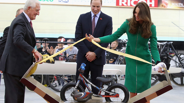 Prince George's first birthday. File photo dated 12/04/2014 of the Duke of Cambridge and Duchess of Cambridge being presented with an Avanti mini bike for Prince George on a visit to the Avanti Drome in Hamilton, New Zealand. Prince George first birthday is on July 22. Issue date: Sunday July 13, 2014. See PA story ROYAL George Presents. Photo credit should read: Anthony Devlin/PA Wire URN:20383150