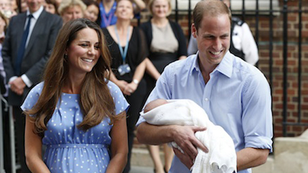 Britain's Prince William and Kate, Duchess of Cambridge hold the Prince of Cambridge, Tuesday July 23, 2013, as they pose for photographers outside St. Mary's Hospital exclusive Lindo Wing in London where the Duchess gave birth on Monday July 22. The boy, who is third in line to the British throne, has since been named George Alexander Louis by his parents and will be known as Prince George of Cambridge. (AP Photo/Lefteris Pitarakis)