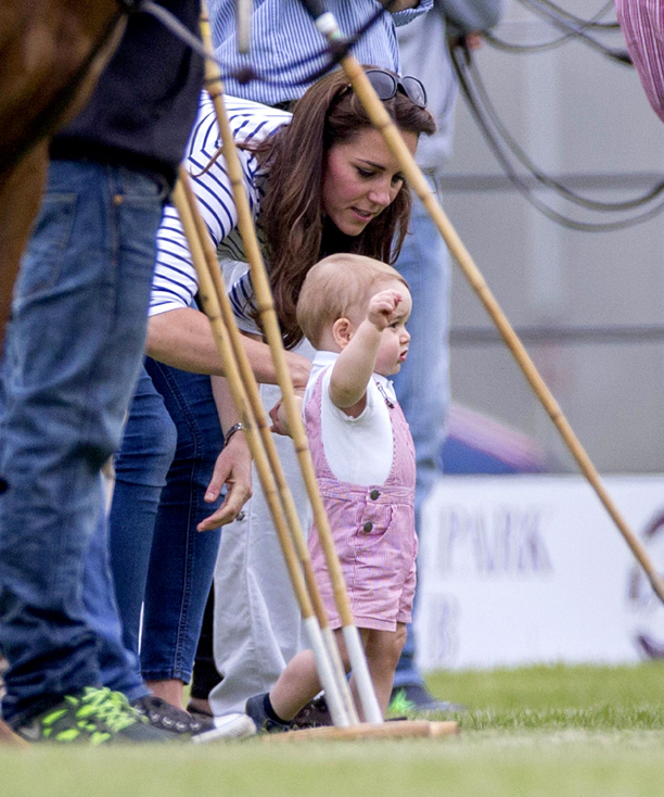 Catherine Duchess of Cambridge and Prince George Jerudong Trophy polo match, Cirencester Polo Club, Gloucestershire, Britain - 15 Jun 2014  (Rex Features via AP Images)