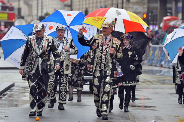 New Years Day parade - London. Pearly Kings and Queens take part during the annual New Years Day Parade in London. Picture date: Wednesday January 1, 2014. See PA story SOCIAL NewYear. Photo credit should read: John Stillwell/PA Wire URN:18577850