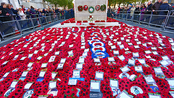 Remembrance Day poppies at the Cenotaph, London (Rex Features via AP Images)