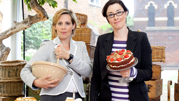 Mel Giedroyc and Sue Perkins on 'The Great British Bake-Off' (Photo: BBC)