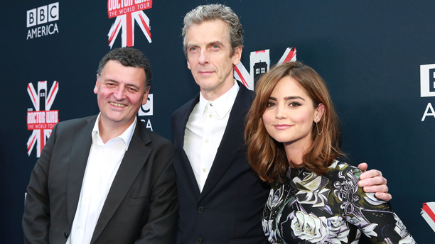 Steven Moffat, Peter Capaldi, and Jenna Coleman (Photo: BBC AMERICA)