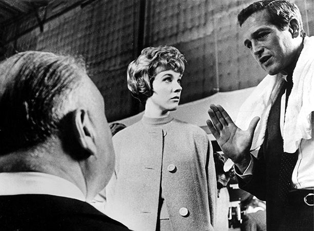 Recognize the profile of the man on the left? That's Alfred Hitchcock directing Andrews and actor Paul Newman on the set of Torn Curtain in 1965. (Express Newspapers via AP Images)