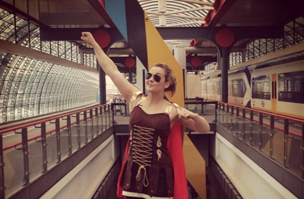 Fancy dress at the train. (Instagram)