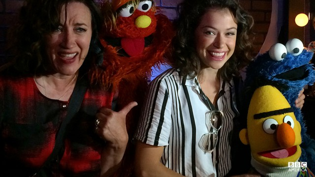 A Sesame Street/Orphan Black crossover? Yes, please. Maria and Tatiana made some new muppet friends behind-the-scenes at Nerd HQ.
