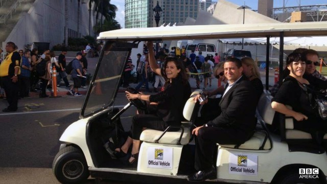 Tatiana drove herself to the Orphan Black Comic-Con panel... in a golf cart.
