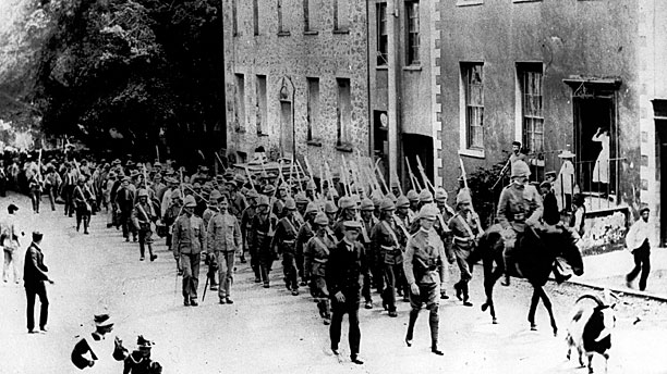 A regiment of Gloucestershires marching up Jamestown (with goat) during the Boer War 1899-1902 (Pic: AP-Photo)