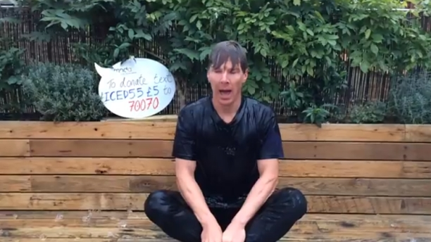 Benedict Cumberbatch meets a bucket of ice water. (Pic: MND Association/Youtube)