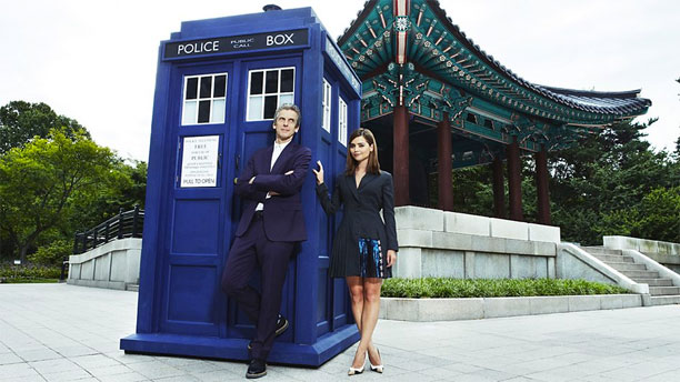 Peter Capaldi and Jenna Coleman (plus TARDIS) in Seoul.