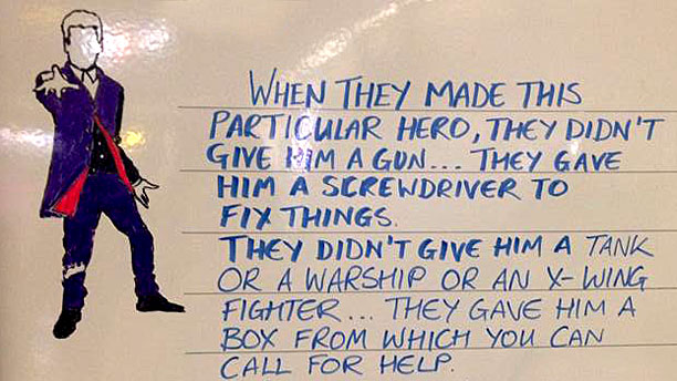 The Doctor Who board at Tufnel Park station (Pic: Talia Kraines)