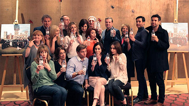 The 'Downton Abbey' cast and their water bottles (Pic: ITV)