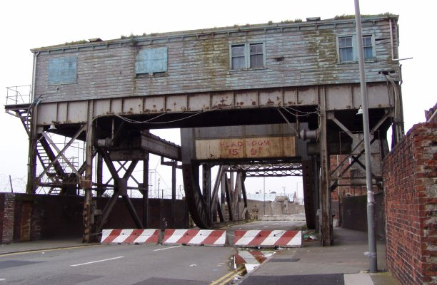 "This historic bascule bridge near the city's Stanley Dock, pictured looking worse-for-wear in 2009, was refurbished in 2010, and can be seen in the film ""Captain America: The First Avenger"" (John Bradley/Wikimedia Commons)"