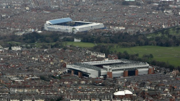 Anfield (foreground) and Goodison Park (background), the home stadia of soccer teams Liverpool FC and Everton FC respectively, are separated by just 0.8 miles, the third shortest distance between stadia in Britain. (Simon Bellis/Cal Sport Media via AP)
